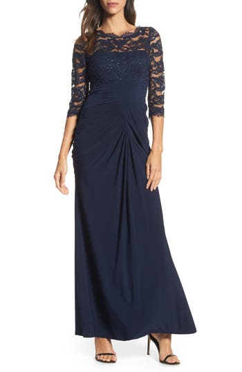 Adrianna Papell Lace & Draped Jersey Gown, Blue