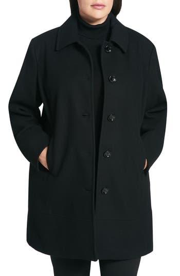 Plus Size Calvin Klein Wool Blend Coat, Black