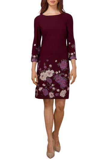Eci Floral Sheath Dress, Burgundy