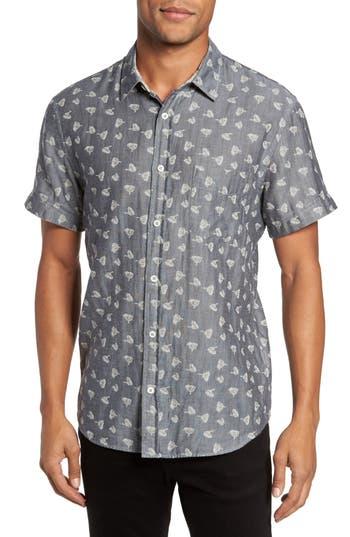 Men's Billy Reid Kirby Print Sport Shirt, Size Medium - Blue