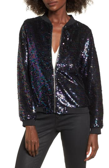 Women's Soprano Sequin Bomber, Size X-Small - Blue