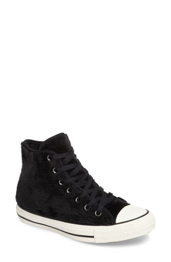 Converse Chuck Taylor All Star Faux Fur High Top Sneakers- Black