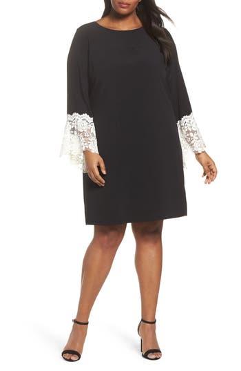 Plus Size Tahari Lace Cuff Shift Dress, Black
