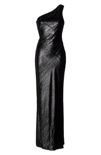 Maria Bianca Nero Stelle Metallic Velvet One-Shoulder Gown, Black