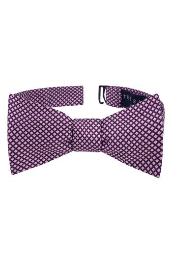 Men's Ted Baker London Ravishing Check Silk Bow Tie, Size One Size - Red