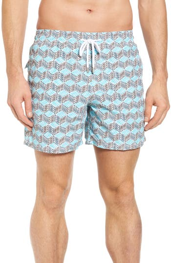 Vilebrequin Cubed Fish Swim Trunks, Blue