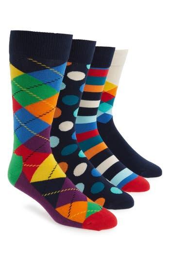 Men's Happy Socks 4-Pack Mixed Pattern Socks, Size One Size - Blue