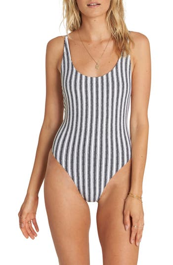 Billabong Get In Line One-Piece Swimsuit, Black