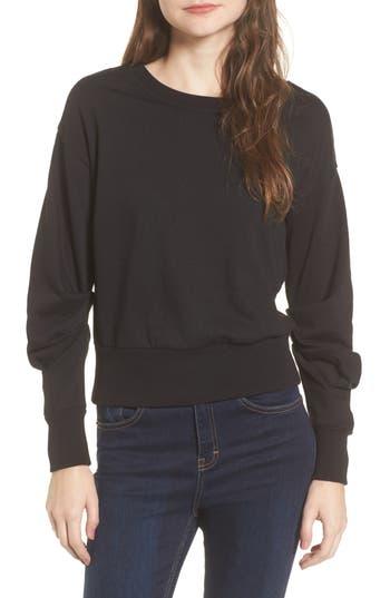 Socialite Ruched Sleeve Sweatshirt, Black