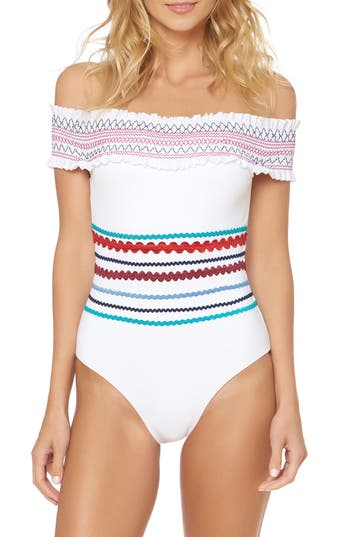 Red Carter Smocked Off The Shoulder Swimsuit, White