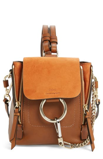 Chloé Mini Faye Leather & Suede Backpack