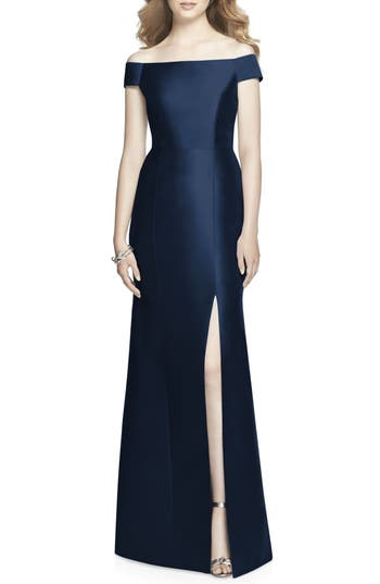 Alfred Sung Off The Shoulder Sateen Gown, Blue