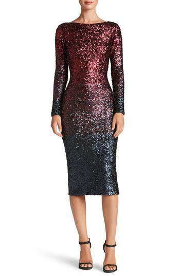 Dress The Population Emery Ombre Sequin Body-Con Dress, Red