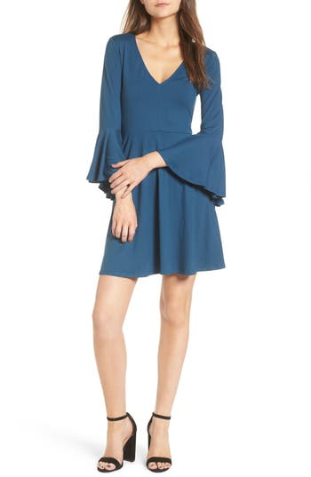 Socialite Bell Sleeve Knit Dress, Blue