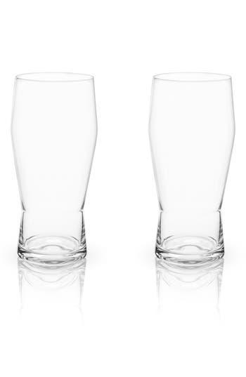 True Fabrications Set Of 2 Pub Glasses, Size One Size - White