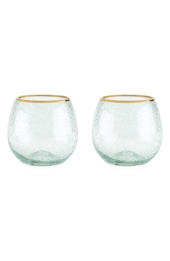 Twine Set Of 2 Gold Rim Stemless Wine Glasses, Size One Size - White