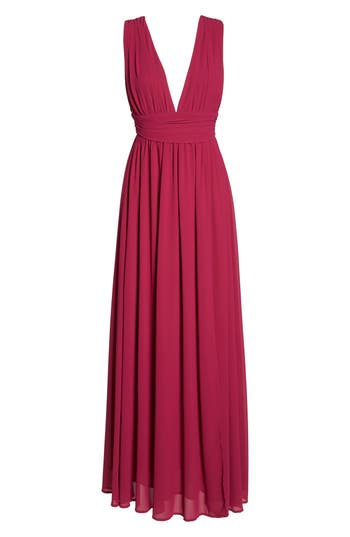 Lulus Plunging V-Neck Chiffon Gown, Pink