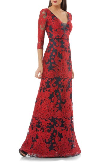 Js Collections Embroidered Lace Gown, Red