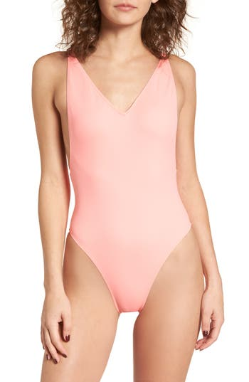 Topshop Pamela One-Piece Swimsuit, US (fits like 0) - Coral