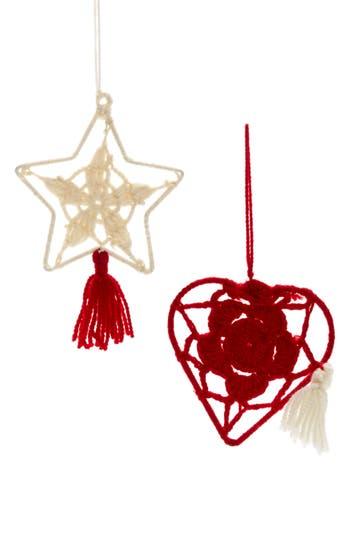 Nordstrom At Home Set Of 2 Global Folk Knit Ornaments