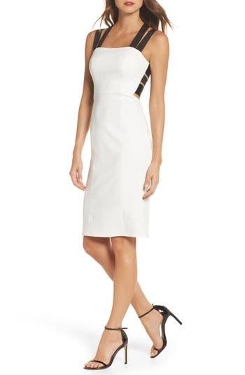 Maria Bianca Nero Kate Elastic Strap Cutout Sheath Dress, Ivory