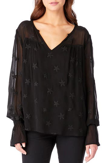 Michael Stars Embroidered Bell Sleeve Top, Black