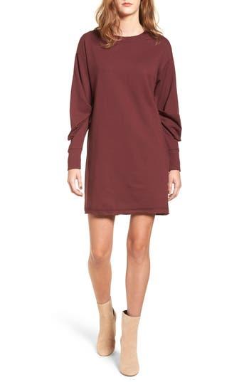 Socialite Gathered Sleeve Sweatshirt Dress, Burgundy