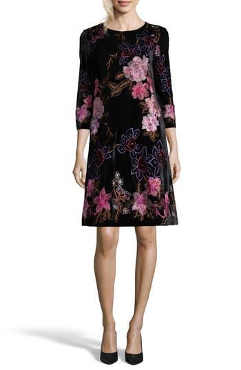 Eci Embroidered Velvet Shift Dress, Black