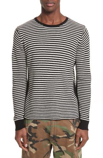 Ovadia & Sons Stripe Waffle Knit Wool Sweater, Black