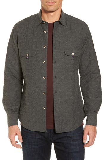 Men's Stone Rose Slim Fit Quilted Shirt Jacket, Size 2(s) - Grey