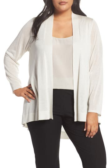 Plus Size Eileen Fisher Shaped Tencel & Merino Wool Cardigan, Ivory