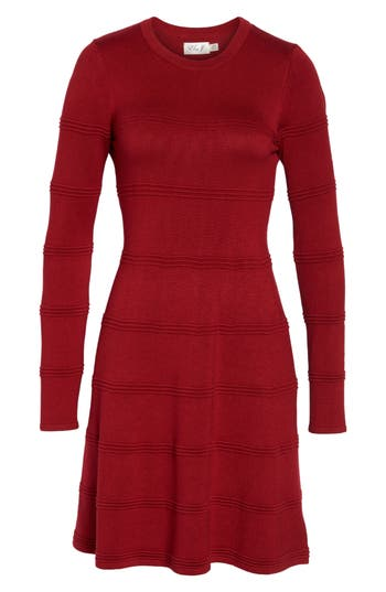 Eliza J A-Line Sweater Dress, Burgundy