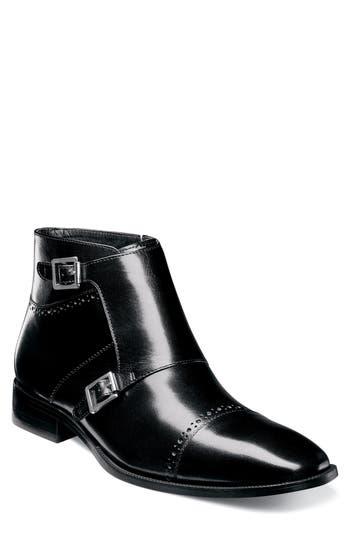 Stacy Adams Kason Double Monk Strap Boot- Black