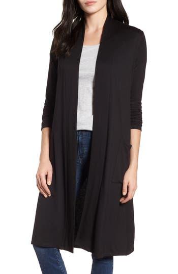 Women's Bobeau Elegant Fleece Cardigan, Size XX-Small - Black