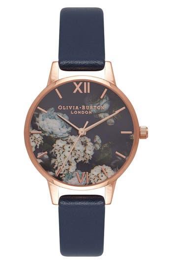 Women's Olivia Burton Signature Florals Leather Strap Watch, 30Mm