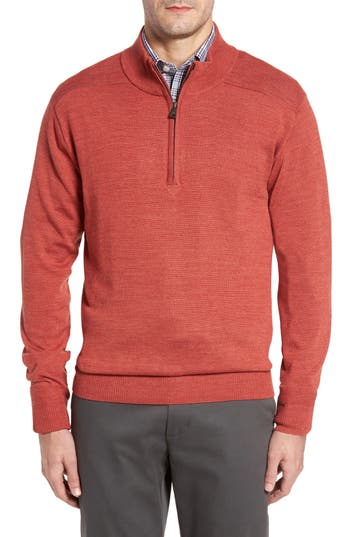 Big & Tall Cutter & Buck Douglas Quarter Zip Wool Blend Sweater, Red