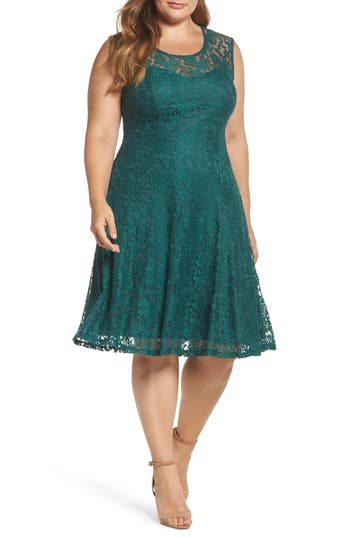 Plus Size Women's Soprano Lace Skater Dress, Size 1X - Green