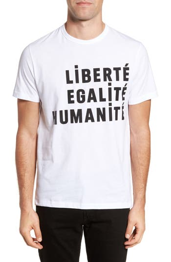 French Connection Egalite Regular Fit Graphic T-Shirt, White
