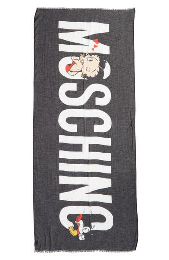 Women's Moschino Betty Boop Logo Scarf, Size One Size - Black