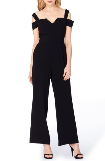 Tahari Cold Shoulder Jumpsuit, Black