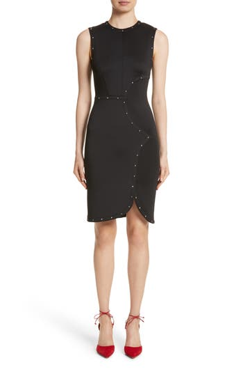 Yigal Azrouel Studded Scuba Sheath Dress, Black