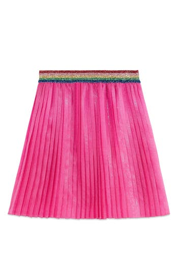 Girl's Gucci Pleated Iridescent Organza Skirt, Size 4Y - Pink
