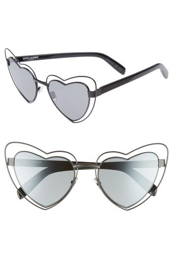 Women's Saint Laurent Sl197 Loulou 57Mm Heart Shaped Sunglasses - Black