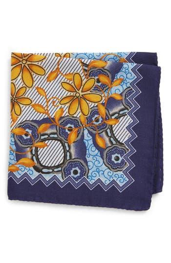 Men's Eton Floral Wool & Silk Pocket Square, Size One Size - Blue
