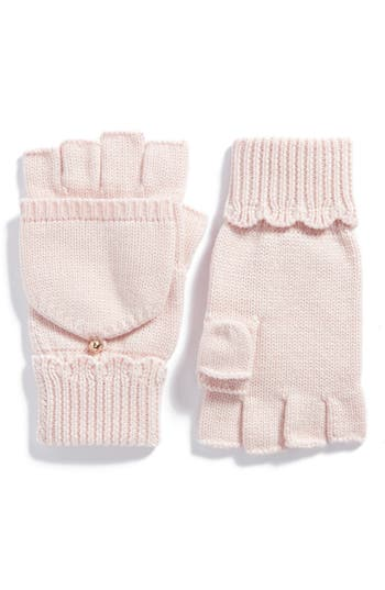 Kate Spade New York Scallop Pop Top Merino Wool Mittens, Size One Size - Pink