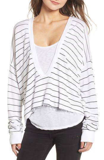 Women's Wildfox Simple Stripe Palmetto Tee, Size X-Small - White