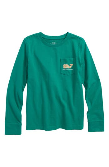 Girl's Vineyard Vines Gingerbread Whale Pocket Tee, Size XS (5-6) - Green