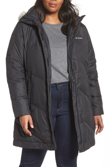 Plus Size Columbia Snow Eclipse Water Resistant Insulated Jacket With Faux Fur Trim, Black