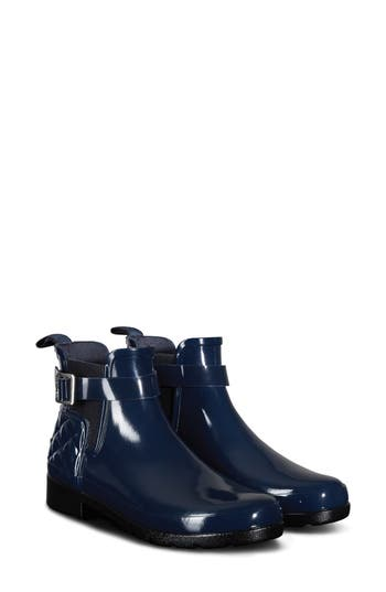 Hunter Original Refined Quilted Gloss Chelsea Boot, Blue