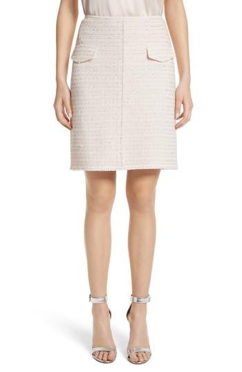 Women's St. John Collection Metallic Tweed Skirt, Size 10 - Coral